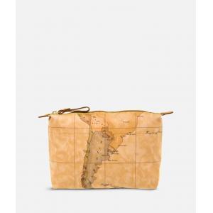 I Classe Trousse da borsa Geo soft 6001 N004 Natural 0010 Realizzato col classico tessuto stampa cartina geografica che caratterizza tutta la gamma Alviero Martini Tessuto cerato Chiusura con lampo