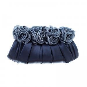 Scheilan Borse Raso Raso BT843 E Blu Realizzato in raso Apertura a scatto Pliss� rose Tracolla in metallo
