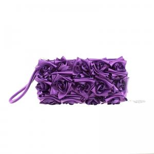 Scheilan Borse Raso Raso BT790 V Viola Realizzata in raso Pliss� rosa allover Maniglia di impugnatura Tracolla in metallo