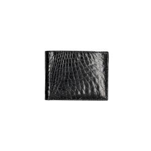 Sani Gualtiero Portafogli Uomo Coccodrillo Sani 4344236 Nero Realizzato in pelle di coccodrillo 8 carte di credito Doppio scomparto per banconote Tasca porta monete chiusa con patta
