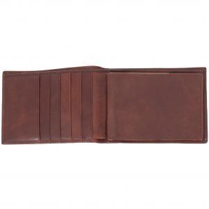The Bridge Portafogli Uomo Continuativo  14434 Marrone Realizzato in pelle Porta assegni 5 carte di credito Scomparto banconote doppio Porta documenti