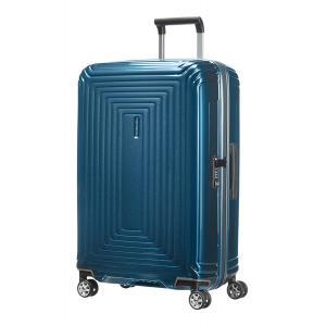 Samsonite Trolley rigidi Neopulse 44D 002 Metallic Blue realizzata in policarbonato Chiusura con zip Combinazione di sicurezza TSA 4 ruote gemellate Federa interna Tasca interna Separatore interno