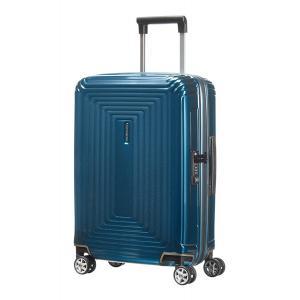 Samsonite Trolley cabina rigida per Compagnie low cost Neopulse 44D 001 Metallic Blue realizzata in policarbonato Chiusura con zip Combinazione di sicurezza TSA 4 ruote gemellate Federa interna Tasca interna Separatore interno
