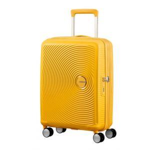 American Tourister Trolley cabina rigida per Compagnie low cost Sound Box 32G 001 Golden Yellow Realizzata in 100% polipropilene Chiusura a combinazione TSA Divisorio interno  Cinghie fermabiti nelle parti superiori ed inferiori 4 ruote multidirezionali
