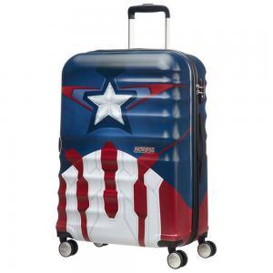 American Tourister Trolley cabina rigida per Compagnie low cost Captain America 31C 002 Captain America Realizzato in ABS Chiusura a combinazione TSA 4 ruote Divisorio interno Elastici ferma indumenti