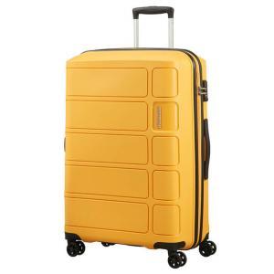 American Tourister Trolley rigidi Summer Splash 62G 902 Honey Yellow Realizzata in 100% polipropilene Chiusura a combinazione TSA Divisorio interno  Cinghie fermabiti nelle parti superiori ed inferiori 4 ruote multidirezionali