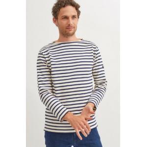 Saint James T-shirt GUILDO 2501 Size:T4  ECRU/MARINE Realizzato in cotone 100% Manica lunga